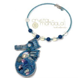 Collana cavalluccio marino, Seahorse pendant, seahorse necklace, crystal-mandala, collana azzurra